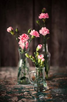 pink carnations in glass... Never forget