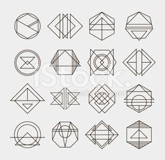 Set of retro line abstract hipster monochrome geometric badge logo royalty-free stock vector art