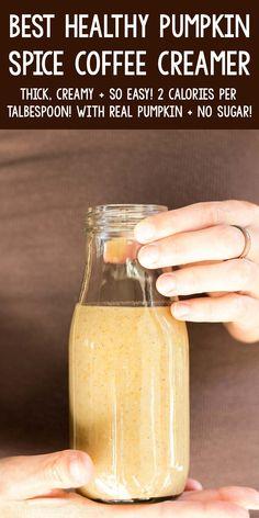Clean Coffee Creamer, Pumpkin Coffee Creamer, Sugar Free Coffee Creamer, Homemade Coffee Creamer, Spiced Coffee, Easy Coffee Creamer Recipe, Pumpkin Drinks, Pumpkin Recipes, Healthy Baking