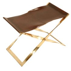 Danish Brass Folding Propeller Stool w/Leather Seat style of Poul Kjaerholm | From a unique collection of antique and modern stools at http://www.1stdibs.com/furniture/seating/stools/