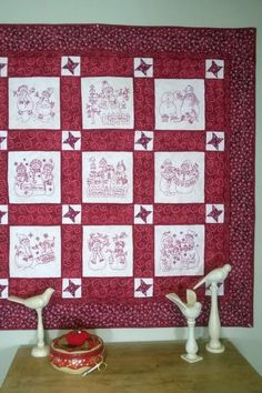 Redwork Embroidery Lots of Friendly Snowmen in 9 Quilt Blocks Set for Machine Embroidery Machine Embroidery Quilts, Bird Embroidery, Embroidery Transfers, Christmas Embroidery, Hand Embroidery Designs, Red Work Embroidery, Applique Quilts, Embroidery Ideas, Snowman Quilt