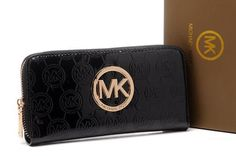 Michael Kors Mirror Metallic Circle Logo Purses Black