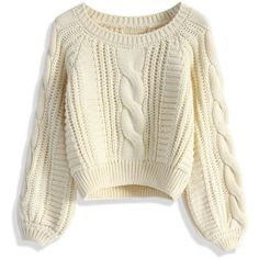 Chicwish Cable Knit Crop Sweater in Beige featuring polyvore, fashion, clothing, tops, sweaters, shirts, jumper, beige, cable knit sweater, puffy sleeve shirt, crop shirts, cropped sweater and beige cable knit sweater