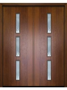 "96"" Double Huntington Mahogany Contemporary Door with Cinnamon Red finish with Water glass texture."
