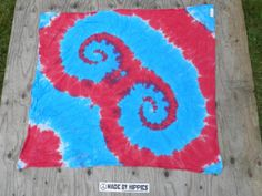 Hey Now Red and Blue Tie Dye Tapestry 36in x 36in