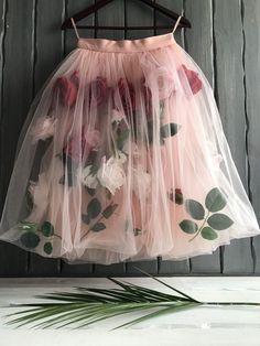 Buy Skirt with roses - handmade, flowers, skirt, summer skirt, fluffy skirt Skirt Outfits, Dress Skirt, Casual Outfits, Flower Skirt, Lookbook, Fashion Week, Baby Dress, Designer Dresses, Fashion Dresses