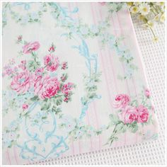 Half Meter 160*50cm Shabby Chic Baby Pink Roses Peonies Printed 100% Cotton Fabric Tilda Cloth Patchwork Sewing Quilting Tissue