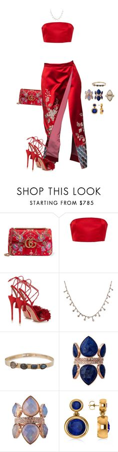 """""""Untitled #4424"""" by kimberlythestylist ❤ liked on Polyvore featuring Gucci, Katie Ermilio, Aquazzura and Allurez"""
