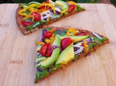Raw Vegan Spinach Basil Pesto Pizza recipe. Rainbow of veggies on this healthy, gluten and nut-free crust.