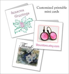Printiable mini cards   customize  thank you  by NewCreatioNZ, $12.00