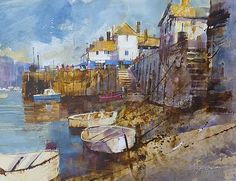 Chris FORSEY - Fowey, Low Tide - Paintings of Cornish seaside resorts… Watercolor Landscape, Landscape Art, Landscape Paintings, Watercolor Art, Seaside Art, Art Folder, Boat Painting, Nautical Art, A Level Art