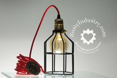 Pendant Light | Steel Industrial Cage - Black | Industrial Design - Steampunk