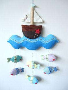 PDF pattern - Nautical mobile. Felt mobile with boat, sea and fishes. Easy sewing pattern, DIY baby crib mobile by iManuFatti on Etsy https://www.etsy.com/listing/179956219/pdf-pattern-nautical-mobile-felt-mobile