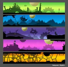 """Compilation of background images created in shadow puppet style for an Indy game project titled """"Weightless."""" The project was part of Tojam 2010 - [link] Game: Weightless - Backgrounds Game Design, Game Level Design, Game Character Design, Game Background Art, Animation Background, Background Images, 2d Game Art, Game Concept Art, Environmental Art"""