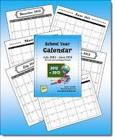 School Year Calendar Freebie