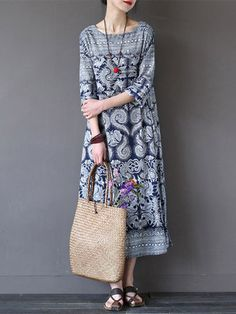 Gracila Vintage 3/4 Sleeve Ethnic Printed Long Maxi Women Dresses