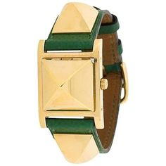 Preowned 1990 Green Calf Leather Hermes Medor Analog Watch ($3,578) ❤ liked on Polyvore featuring jewelry, watches, green, wrist watches, analog watch, square dial watches, preowned watches, hermes jewelry and analogue watch