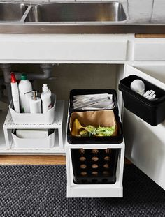 IKEA - VARIERA, Recycling bin, black, You can choose the size and number of VARIERA recycling bins that suit you and your home the best. Place the bin under the sink, in a drawer or in a cabinet. Rounded corners for easy cleaning. Kitchen Cupboard Organization, Kitchen Sink Organization, Sink Organizer, Kitchen Cupboards, Kitchen Storage, Organization Ideas, Kitchen Sinks, Storage Ideas, Storage Solutions