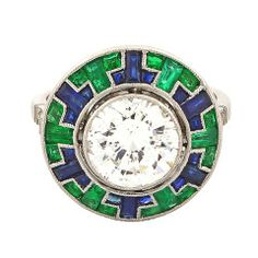 Art Deco Emerald Sapphire Diamond Platinum Ring