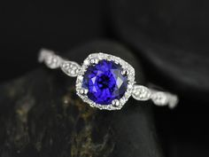 Christie 14kt White Gold Blue Sapphire and Diamonds Cushion Halo WITH Milgrain Engagement Ring (Other metals and stone options available)