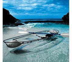 Kayak in a glass-bottom kayak