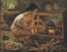 FERNANDO CUETO AMORSOLO   GIRL PREPARING A MEAL - Signed and dated 1959 - Oil on canvas   Sotheby's