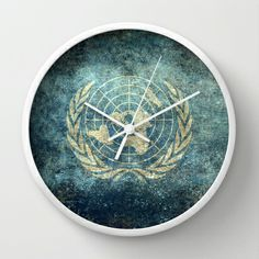 The United Nations Flag - Vintage version Wall Clock Men's Watches, Watches For Men, United Nations, Wall Clocks, Decorative Plates, Favorite Things, Flag, The Unit, Vintage
