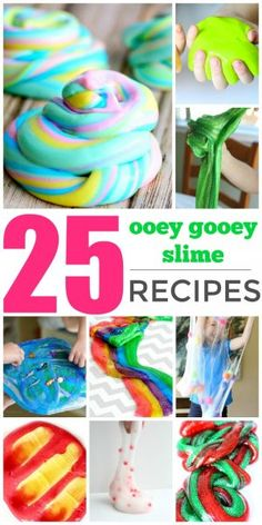 25 Slime Recipes - Learn how to make slime with borax, without borax, and enjoy some sensory fun with these HOT SLIME IDEAS