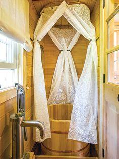 cypress bathtub-Rowan Kunz tiny home