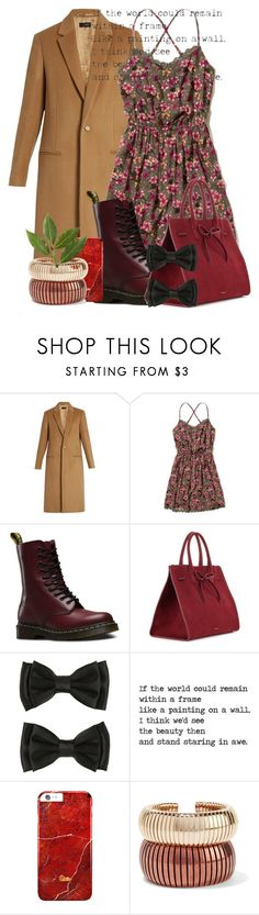 """""""BROWN"""" by ana-arh ❤ liked on Polyvore featuring Joseph, Hollister Co., Dr. Martens, Mansur Gavriel, Rosantica, Fall, dress, falltrend and camelcoat"""