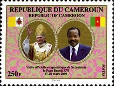 Stamp: Official and Apostolic Visit of Pope Benedict in Cameroon (Cameroon) (Official and Apostolic Visit of Pope Benedict in Cameroon) Mi:CM 1258,Yt:CM 917,Sg:CM 1227,WAD:CM002.09