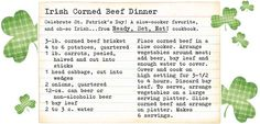 Irish Corned Beef Dinner. Artwork by Gooseberry Patch