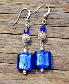 Cobalt and silver foil glass earrings. $17.99, via Etsy.