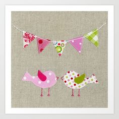 Pink birds with party flags | Art Print - Nursery room decor, nursery art prints, baby nursery decor, kids wall art, girls room, children room - Available on Society6.com
