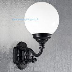 Rotonda Small Black Outdoor Wall Light Opal Globe $113