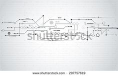 Vector Abstract futuristic.Stripe line circuit board pattern with gear wheel and arrow symbol.Communication and engineering technology concept. Light gray color background with blank space for design