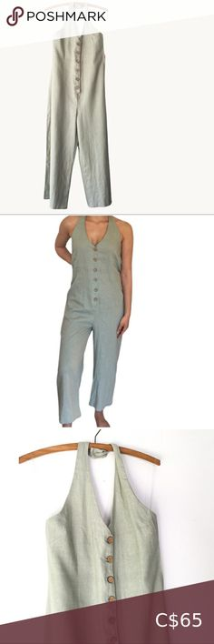 NWT Sage Linen Halter Jumpsuit NWT!      SIZE 5  This beautiful linen halter-top romper comes in a muted sage colour with faux cork buttons. High-back with elastic and straight leg bottoms. Looks sooo sweet on; total minimalist style!  Tag says size 5 and fits a little on the loose side. Pants & Jumpsuits Jumpsuits & Rompers Minimalist Style, Minimalist Fashion, Sage Color, Colour, Jean Romper, Diesel Denim, Strapless Jumpsuit, Striped Crop Top, Tunic Shirt