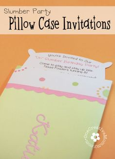 Free Pillow Case Slumber Party Invitations Template {OneCreativeMommy.com}