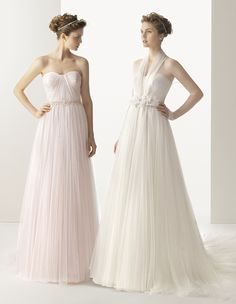 118 Ural / Wedding Dresses / 2014 Soft Collection / Rosa Clara (Shown with  without long Illusion Jacket belted at waist with Flower details, colour in Natural  Pink)