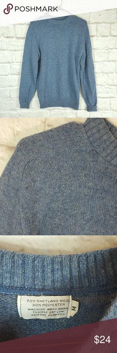 """VINTAGE Unisex Blue Shetland Wool Sweater size M VINTAGE Unisex Blue Shetland Wool Sweater size M. 70% Wool, 30% Polyester.   Waist from Seam to Seam: 18"""" Length from Top: 26""""  Please let me know if you have any questions. Happy Poshing! Vintage Sweaters"""