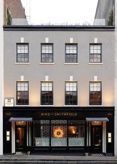 Very elegant facade. Building Exterior, Building Design, Building Front, H Design, House Design, Cafe Design, Interior Design, Retail Facade, London Cafe