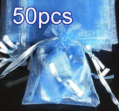 50pcs Baby Blue Drawstring Organza Gift Bag Pouch 7x9cm (2.7x3.5inch) Solid Color for Wedding Xmas New Year Birthday Party by AnneJewelryAcc, $4.85