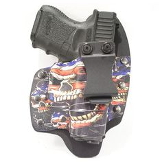All our holsters are hand crafted right here in the USA. Design patterns may Kydex Front molded to fit your gun – (IWB) Inside the Waistband. Customized for Glock handguns. Concealed Carry Holsters, Kydex Holster, Hand Guns, Skulls, Flag, Band, Inspiration, Firearms, Biblical Inspiration