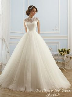 Wedding Dresses Simple, Glamorous Tulle High Collar Neckline Ball Gown Wedding Dress, Shop discount wedding dresses and sales. Don't miss out, shop clearance wedding dresses before they're gone! Princess Wedding Dresses, White Wedding Dresses, Bridal Dresses, Wedding Gowns, Bridesmaid Dresses, Tulle Wedding, Tool Wedding Dresses, Mermaid Wedding, Elegant Ball Gowns