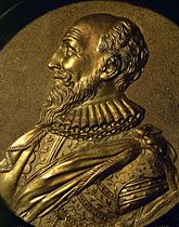 Maximilien de Bethune, Baron de Rosny, Duc de Sully, Marechal de France (1560-1641), childhood friend and companion at arms of King Henri IV. While the King converted to the Catholic faith, Sully remained a Protestant. Round pewter plaque, gilded,  Lessingimages.com - Search Results for Huguenots, Protestants
