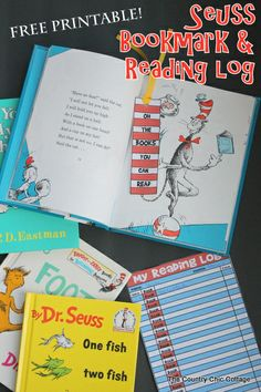 Seuss bookmark and reading log printable -- a fun Dr. Seuss inspired project that is free to print for your home or classroom.