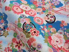 Japanese floral blue cotton fabric fat by japanmomijidesigns