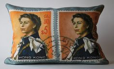 From an envelope postmarked Hong Kong, in the 1950s. Imagine receiving letters from exotic cities, that look like THIS? Elizabeth Blue Pillow  http://opalathome.com/collections/ephemera