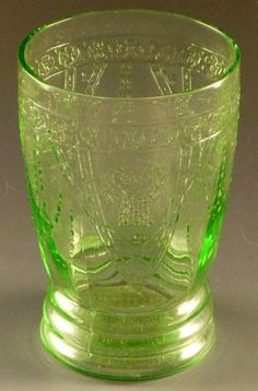 Depression Glass Georgian Lovebirds Green 10 oz Water Tumbler Federal Drinking