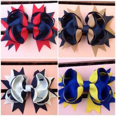 Spike Boutique School Uniform bows in different colors with resins or bottle caps, School Hair Bows, Girl Hair Bows, School Uniform Accessories, Hair Accessories, Girls School Hairstyles, Diy Bow, Just Girl Things, Hair Pictures, Pretty Hairstyles
